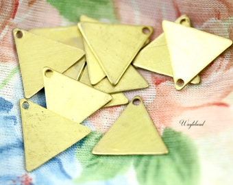 Raw Brass Triangle Charm Stampings - 10