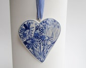 Porcelain  Heart -  Blue and white Delft Blue Wall hanging/ornament-  Daisy-  Mother's Day
