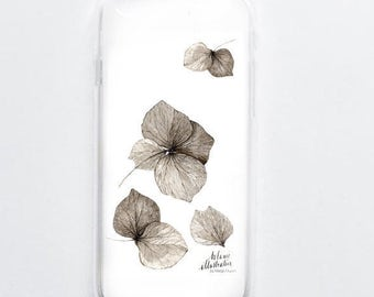 case iPhone 5, 5s, 6, 6s,6+ 7, 7+ hydrangea flower print nature decor