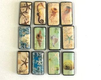 Sea life and beach themed Bamboo Tile Pendants, Shells, Seahorse, Starfish