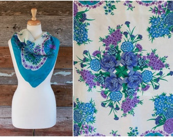 floral silk scarf by Adrienne Vittadini | blue & purple botanical print oversized silk scarf | écharpe en soie vintage