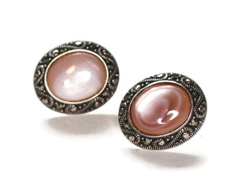 Pink MOP Shell and Marcasite Earrings Posts Sterling Vintage