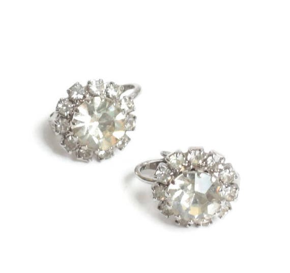 Clear Crystal Halo Earrings Clip On Smaller Size Vintage