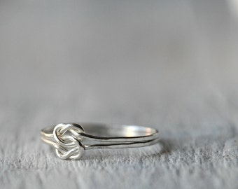Sterling Silver ring wit two Love Knots, Love, friendship, BFF, anniversary, birthday