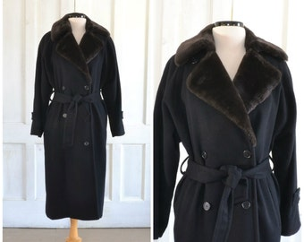 Perry Ellis Wool Coat Faux Fur Collar Double Breasted Black Trench Coat