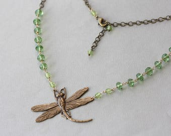 Dragonfly Antique Gold Spring Green Necklace, Mothers Day Gift, Birthday Gift for Wife, For Sister, for Summer Dress, for Prom, for Teacher