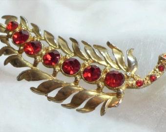 20% Sale Jewelry Vintage Brooch Red Gold Rhinestones Feather Leaf Star Mark Fred Grey