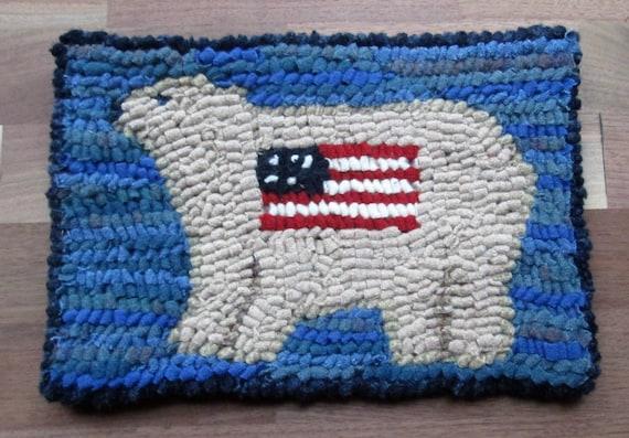 Patriotic Polar Bear Beginner Primitive Rug Hooking Kit