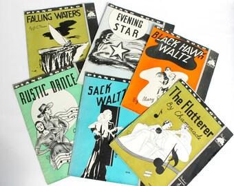 Vintage Art Deco Sheet Music Set Moderne Publications Pre-War Bold Graphics Paper Ephemera
