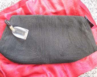 1940s Koret Black Corde Handbag w/ Huge Lucite Pull