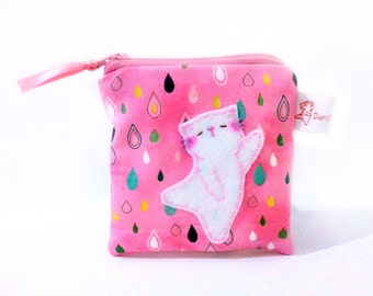 Dancing kitty cat coin purse pink cat coin purse pouch wallet cute rain drops small change purse Holiday gift for her stocking stuffers