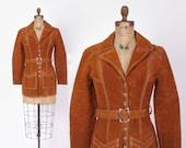 Vintage 60s Leather JACKET / 1960s Boho Golden Brown Suede Belted Hippie Coat XS - S