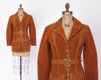 Vintage 60s Leather JACKET / 1960s Boho Golden Brown Suede Belted Hippie Coat XS - S