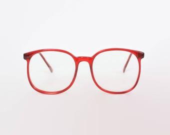 Vintage 80s RED GLASSES FRAMES / 1980s Oversized Transparent Red Eyeglasses