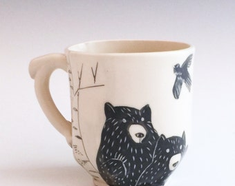 Double Bear, Bunny, Bird and Owl Mug