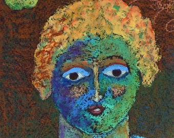 Harvest Girl—Original Oil Pastel, Classic Expressions Figure in Vivid Colors.
