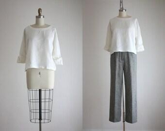 vintage boxy linen cropped blouse