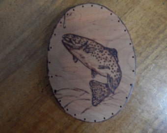 Wood Burnt Image of a Fish Basket Bottom or Other Craft Project