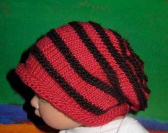 50% OFF SALE Instant Digital pdf file Knitting Pattern Only-Baby Simple Stripe Roll Brim Slouch hat knitting pattern pdf download