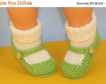50% OFF SALE Instant Digital File pdf download Knitting pattern- Baby One Button Sock and Slipper Booties pdf download knitting pattern