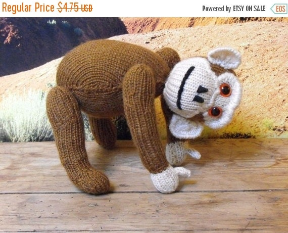 30% Discount Sale Instant Digital File pdf download knitting pattern - Chester Chimpanzee toy animal pdf download knitting pattern.