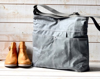 Waxed Canvas bag / Briefcase / Messenger bag / Light Gray Tote / Travel bag / Vogue / Fall Fashion