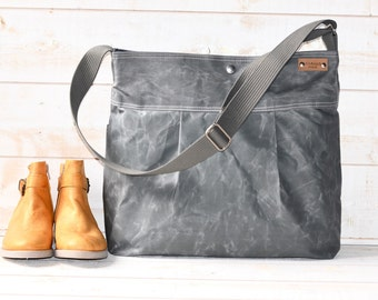 Waxed Canvas bag, Diaper bag, Messenger bag, Briefcase, Light Gray Tote, Travel bag, Gift for her