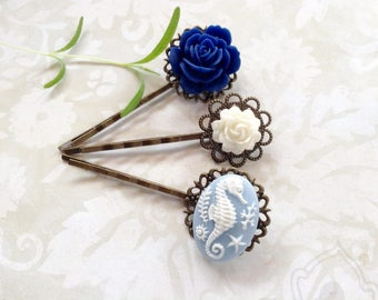Bobby Pins Blue Seahorse and Rose Hair Clips