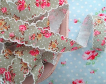 Vintage Style Sage Green Floral Scalloped Edge Ribbon - 1 inch - 1 Yard