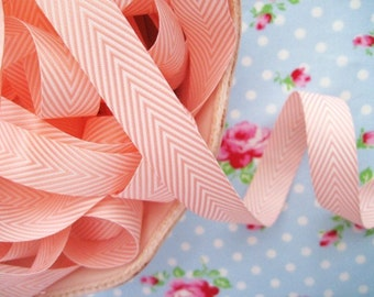 Chevron Striped Twill - Pink and White - Ribbon - 3/4 inch - 2 Yards