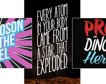 PRO SCIENCE SET Higgs Boson Evolution Atomic Genetics Science March Resistance (set of three prints) multiple sizes