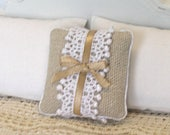 1:12 Pillow - Homespun + Ribbons + Lace-  Dollhouse Scale Miniature - Shabby Cottage Handmade *Free Shipping*