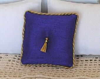 1:12 Pillow - Royal Purple + Tassel - Handmade Dollhouse Scale Miniature - Shabby Cottage **Free Shipping**