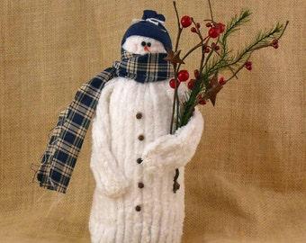 Chenille Fabric Snowman - Medium Size - Joey