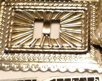 """12 Silvertone metal Western conchos 2"""" x 1 5/8"""""""