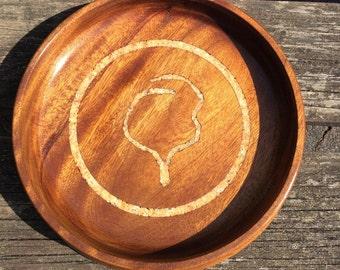 Handturned bowl.Malaysian mahogany bowl.Calcite and fluorite inlay.