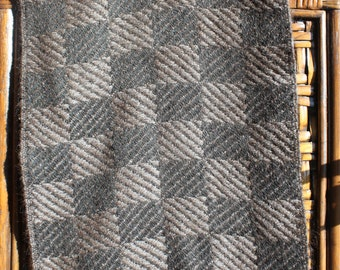 Soft Brown and Black Checkered Alpaca Scarf
