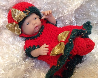 Clothes For 9-10 Inch mini Dolls.Christmas Holiday  dress set