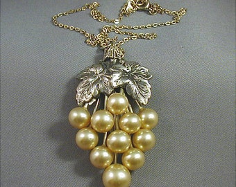 Vintage Pearl Grape Cluster Pendant Art Deco
