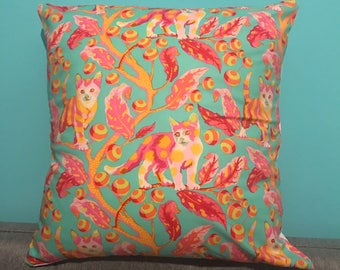 Cat cushion - cat pillow - cat fabric - bright cat print - bright cushion - home- decorative cushion - gift for cat lover - cat lover -house