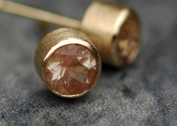 Oregon Sunstone in Brushed 14k Yellow Gold Post Earrings- Ready to Ship