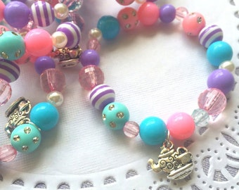Tea party bracelet, kids beaded jewelry, kids birthday party, teapot charm. SET of TEN.