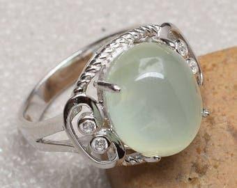 Vintage Sterling Silver Prehnite Ring Size 7