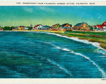 Vintage Cape Cod Postcard - The Shorefront from Falmouth Harbor Jetties (Unused)