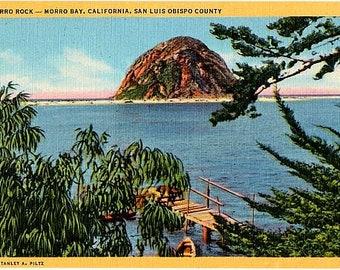 Vintage California Postcard - Morro Rock in Morro Bay (Unused)