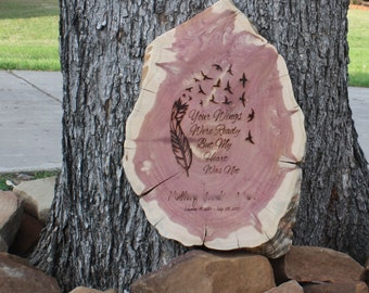 Memorial Plaque, wood slice, In Memory, personalize, laser engrave, grief, mourning, funeral, commemorate loved one, event, pet, custom made