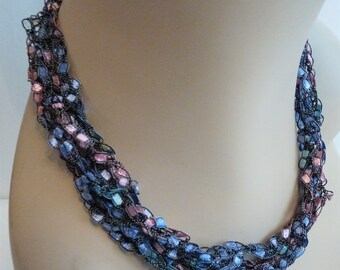 SALE Crocheted Necklace in Blue, Pink, and Purple, Lightweight Jewelry, Crochet Jewelry, Allergy Friendly Necklace