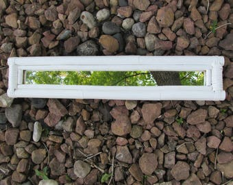 Upcycled Mirror Bamboo White Framed Long and Narrow