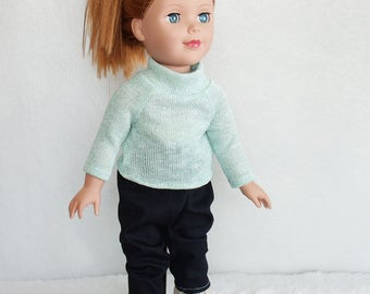"""18 inch Doll Outfits, Green sparkle knit turtle neck doll top and dark dye jeans, faux suede cream fringe doll boots, 18"""" doll clothes set"""