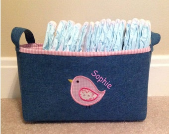Personalized fabric storage bin or basket. Valentines day. Easter basket. Denim with pink or blue gingham.
